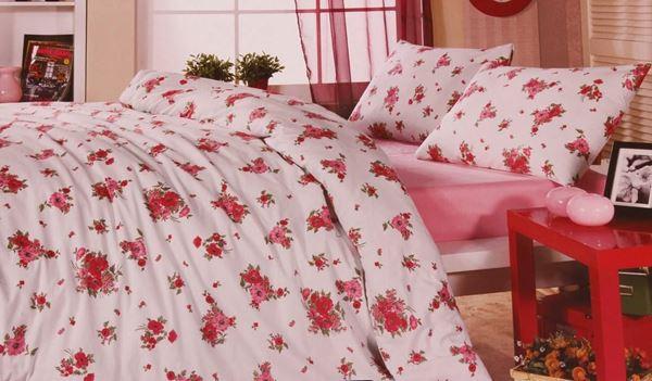 resm Koton Kemik Renk Pembe Çiçekli Çift Kişilik Nevresim Takımı