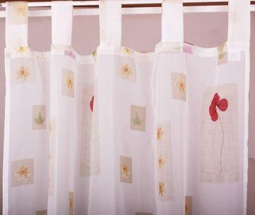 Resim Organza Beyaz Bordo Gelincik Çiçekli Perde