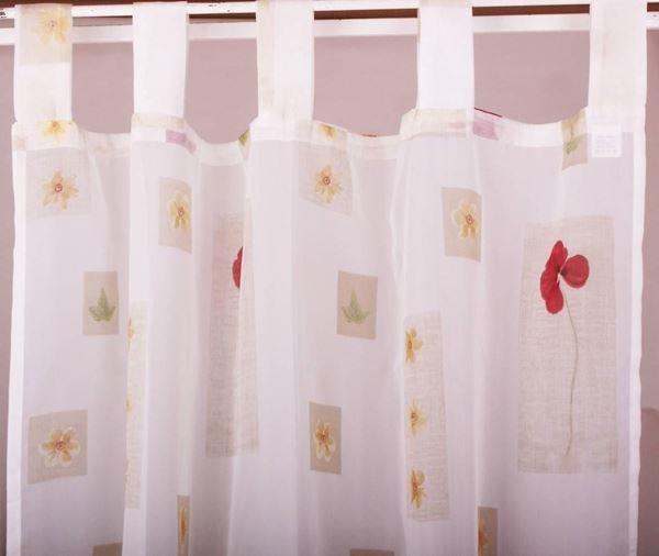 resm Organza Beyaz Bordo Gelincik Çiçekli Perde