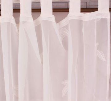 Resim Organza Beyaz Yprak Nakışlı Perde