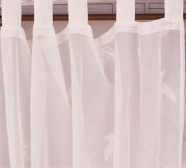 resm Organza Beyaz Yprak Nakışlı Perde