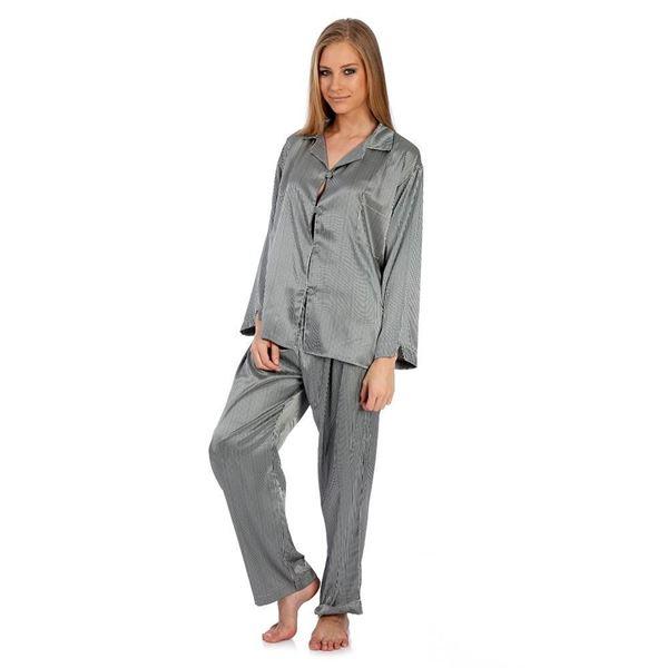 resm İpek Saten  Gri Çizgili  Pijama