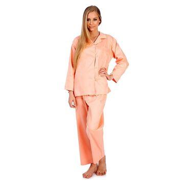 Resim Saten Koton Somon Renk Pijama