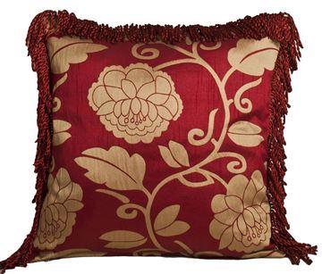 Resim Yastıkminder Tafta Kırmızı Bej Sarmaşık Gül Düğüm Saçaklı Dekoratif Yastık