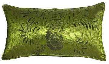 Resim Yastıkminder Tafta Fıstık Yeşil Gül Yaprak Desen Dikdörtgen Yastık
