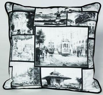 Resim Yastıkminder Koton Polyester Siyah Beyaz İstanbul Desenli Yastık