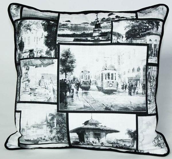 resm Yastıkminder Koton Polyester Siyah Beyaz İstanbul Desenli Yastık