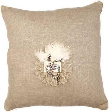 Resim Yastıkminder Keten Kum Renk Tüy Broşlu Yastık
