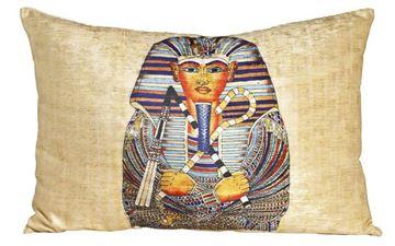 Resim Yastıkminder Kadife Sarı Firavun Dijital Baskılı Büyük Dekoratif Yastık