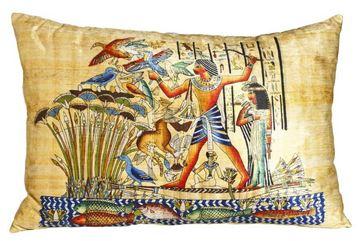 Resim Yastıkminder Kadife Sarı Papirus Mısır Dijital Baskı Büyük Dekoratif Yastık