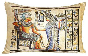 Resim Yastıkminder Kadife Sarı Papirus Tahtta Firavun Dijital Baskı Büyük Dekoratif Yastık