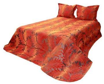Resim Tafta Kahve Oranj Palmiye Yatak Örtüsü
