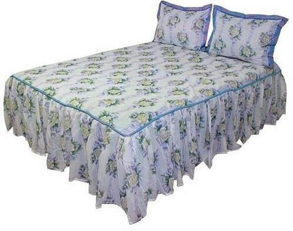resm Tafta Organze  Mavi Etekli Yatak Örtüsü