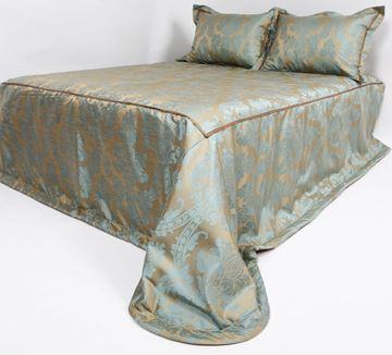 Resim Tafta Gold Mavi Damask Desen  Yatak Örtüsü