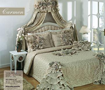 Resim Saten Dantel Açık Yeşil Saraylı Yatak Örtü