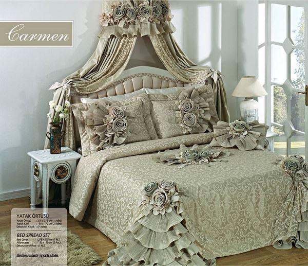 resm Saten Dantel Açık Yeşil Saraylı Yatak Örtü
