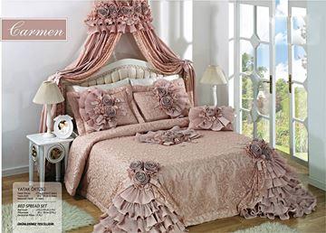 Resim Saten Dantel Pembe Saraylı Yatak Örtü