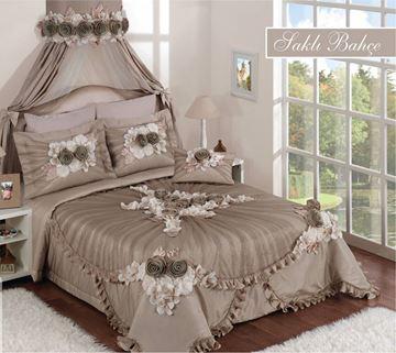 Resim Saten Dantel Vizon Saraylı Yatak Örtü
