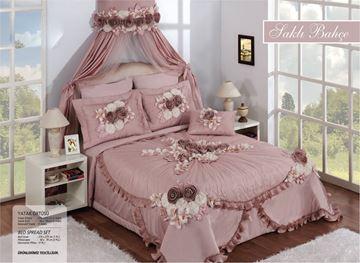Resim Saten Dantel Pudra Renk Saraylı Yatak Örtü