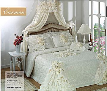 Resim Saten Dantel Kemik Renk Saraylı Yatak Örtü