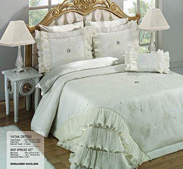Resim Saten Dantel Kemik Saraylı Yatak Örtü