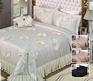 Resim Tafta Dantel Kemik Saraylı Yatak Örtü