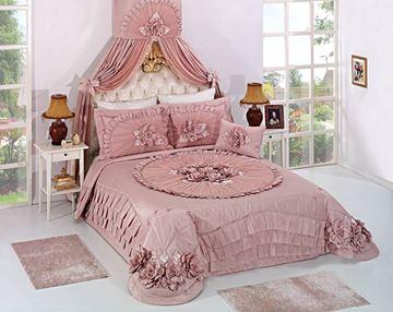 Resim Saten Dantel Pembe Saraylı Cetrin Yatak Örtü