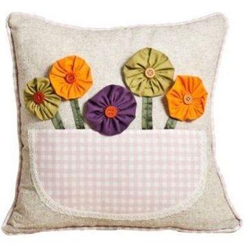 Resim Yastıkminder Koton Renkli Çiçek Sepetli Yastık