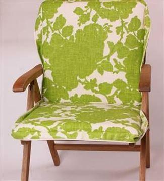 Resim Yeşil Keten Çiçekli Çanta Şezlong Minderi