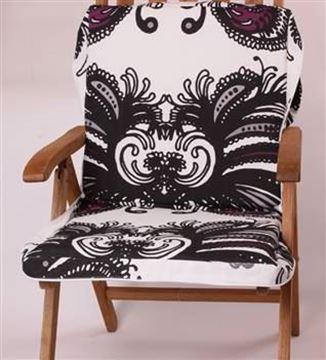 Resim Siyah Beyaz Desenli Koton Çanta Şezlong Minderi