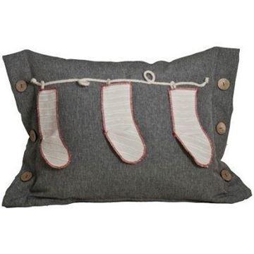 Resim Yastıkminder Keten Siyah Füme Düğmeli Noel Çoraplı Yastık