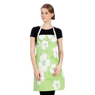 Resim Beyaz Çiçekli Yeşil Mutfak İş Önlüğü