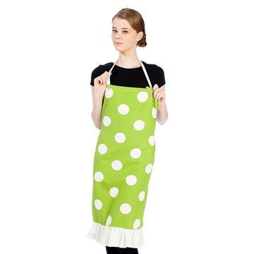 Resim KOTON Beyaz Puantiyeli Yeşil Mutfak İş Önlüğü