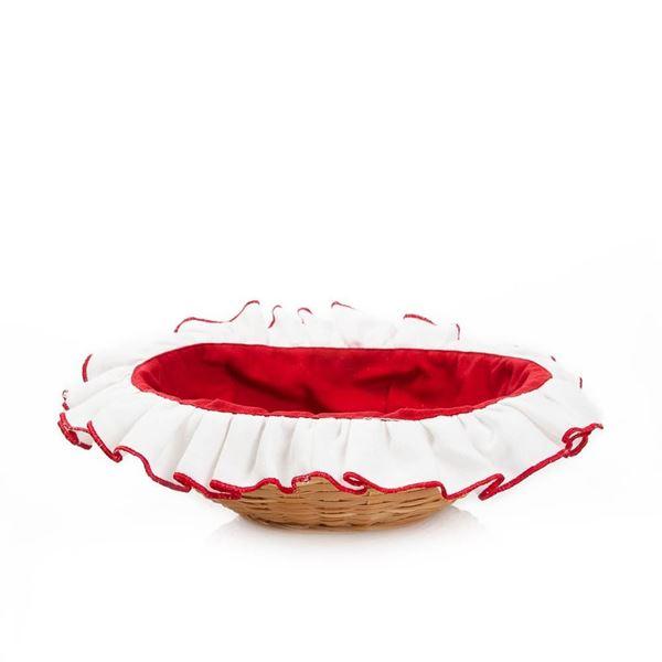 resm Koton Kırmızı Beyaz Kılıflı Ekmek Sepeti