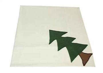 Resim Koton Beyaz Yeşil Küçük Ağaç Dikdörtgen Masa Örtü