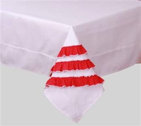 resm Koto Beyaz Kırmızı Farbelalı Kare Masa Örtü