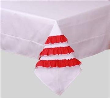 Resim Koton Beyaz Kırmızı Farbelalı Dikdörtgen Masa Örtü