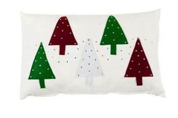 Resim Yastıkminder Polyester Beyaz 5 Ağaç Aplıke Dekoratif Yastık