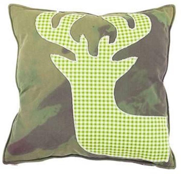 resm Yastıkminder Koton Kamuflaj Piyedepul Geyik Aplıke Dekoratif Yastık
