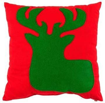 Resim Yastıkminder Koton Kırmızı Yeşil Geyik Aplıke Dekoratif Yastık