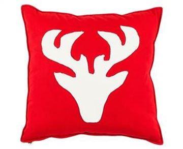 Resim Yastıkminder Koton Kırmızı Beyaz Geyik Aplıke Dekoratif Yastık
