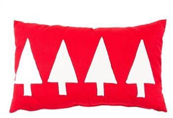 resm Yastıkminder Koton Kırmızı Beyaz 4 Ağaç Aplıke Dekoratif Yastık