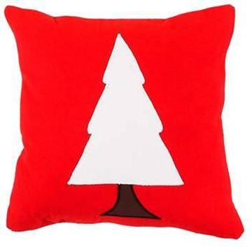 Resim Yastıkminder Koton Kırmızı Beyaz Küçük Ağaç Aplike Dekoratif Yastık