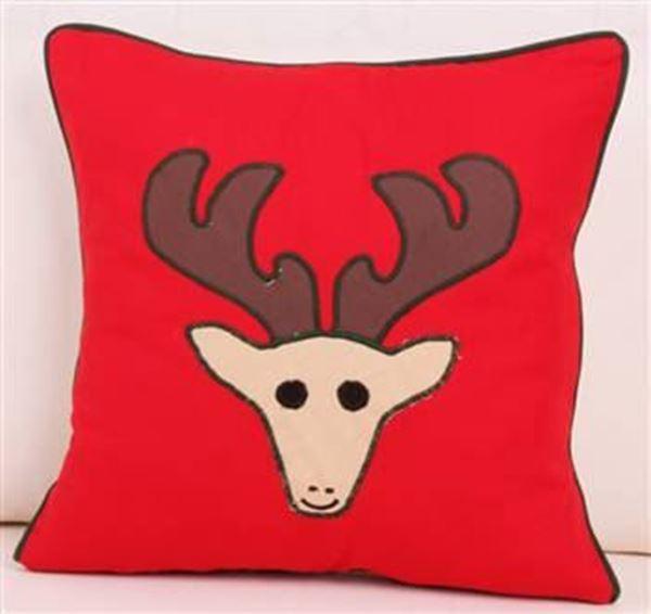 resm Yastıkminder Koton Kırmızı Kahve Geyik Aplike Dekoratif Yastık