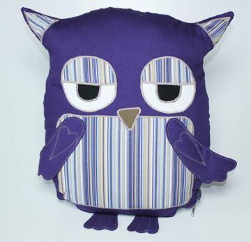 Resim Lacivert Çizgili Göbekli Baykuş Yastık