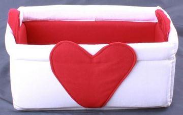 Resim Kırmızı Beyaz Kalp Figürlü Çok Amaçlı Derleme Kabı