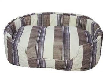 Resim Yastıkminder Kalın Çizgi Desenli Oval Köpek Yatağı