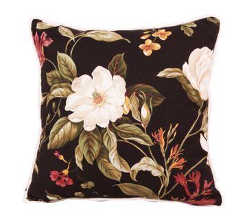 Resim Koton Siyah Byaz Çiçek Desenli Dekoratif Yastık Kılıfı