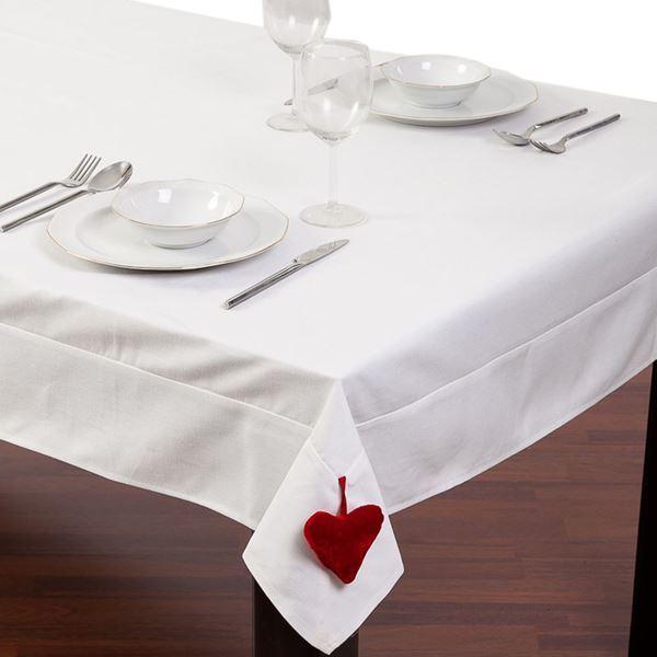 resm Koton Beyaz Kalp Sarkaçlı Dikdörtgen Masa Örtüsü
