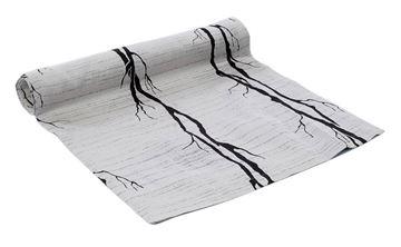 Resim Tafta Ekru Siyah Ağaç Kökleri Desen Runner